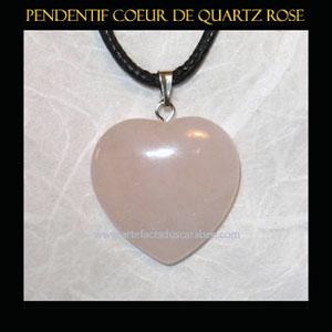 PENDENTIF Pentagramme En Quartz Rose