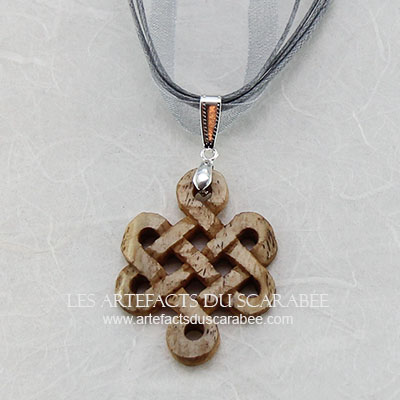 "Collier ""MYSTICA"" - Noeud Celtique d'Éternité en Os"