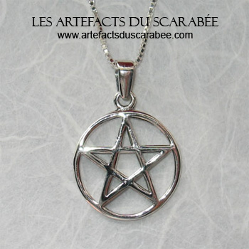 Pentacle Pentagramme (Symbole de Protection) - 20x30mm (Arg 925)